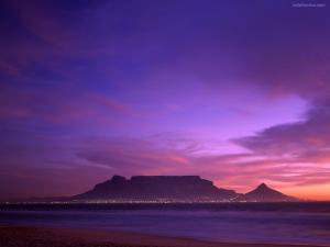 Purple sunset on the beach