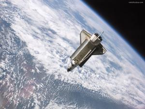Atlantis shuttle orbiting around the Earth