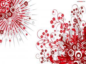 Red floral motifs