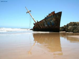 Ship stranded on the beach