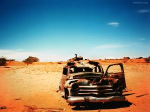 Car abandoned in the desert