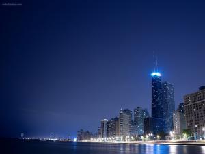 Coastal city at night