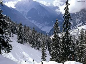 Skiing in the mountain