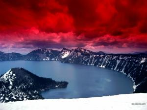 Red sky over a lake