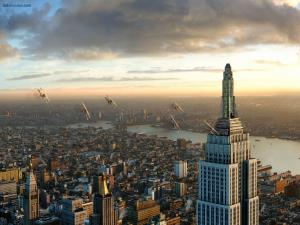 Airplanes flying over the Empire State Building