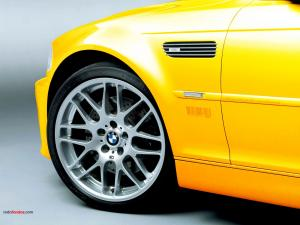 Tire of a yellow BMW