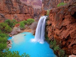 A blue lagoon in the desert