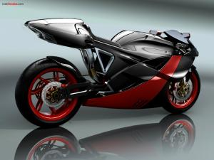 Motorbike design, black and red