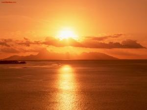 Orange sky over the sea