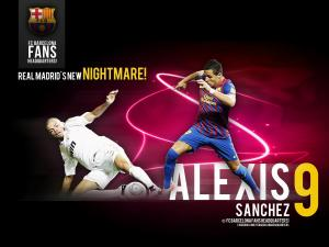 Alexis Sanchez, number 9 in the F.C. Barcelona