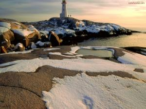 A lighthouse in frozen territory