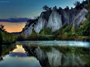Crystal lake at dawn
