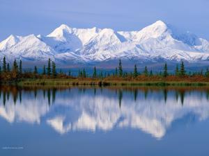 White mountains beyond the lake
