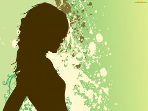 Women on green background