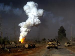 Battle tanks in war zone