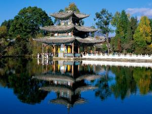 Oriental palace at the shore of a lake