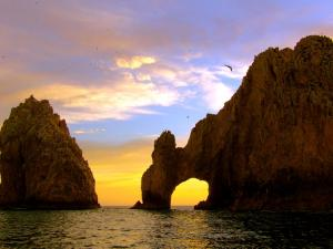 The Cabo San Lucas (in Mexico) at sunset