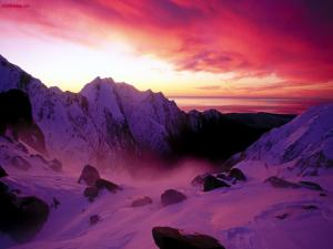 Purple sky in the mountains