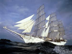 Sailing ship in full sail