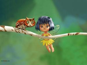 A little fairy and an owl