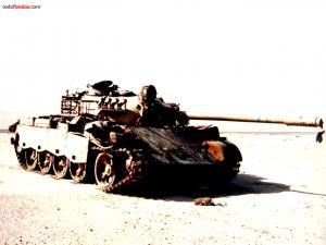 Tank in war zone