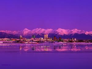 The city of Anchorage (Alaska) at night