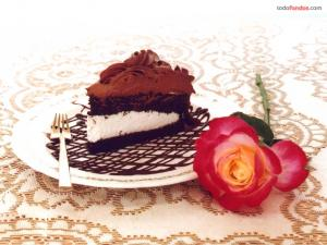Cake with chocolate and cream