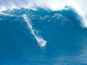 Surfing in blue waters