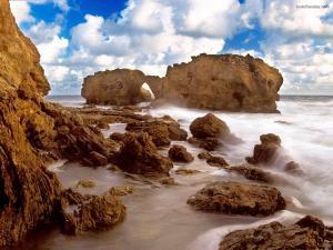 A very rocky beach
