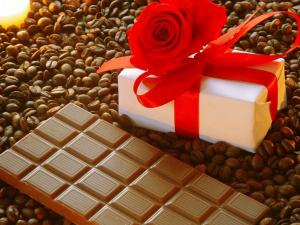 Chocolate, coffee and a gift
