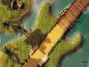 A guitar-shaped island