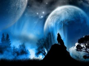 Wolf howling at two moons