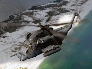 MH-53J helicopter over the sea
