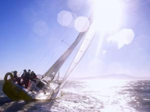 Traveling by the sea in a sailing yacht