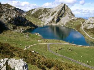 Lake Enol (Lakes of Covadonga) in Asturias, Spain