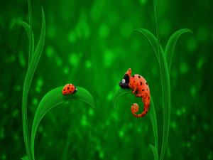 Ladybug and chameleon looking each other