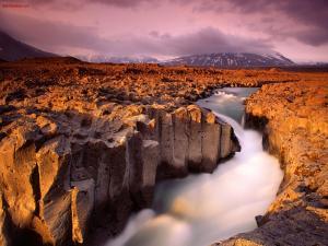 Water flowing through arid lands