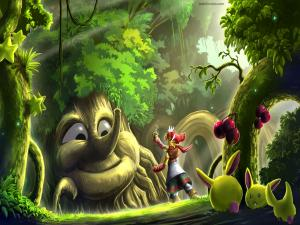 Magical creatures in an enchanted forest