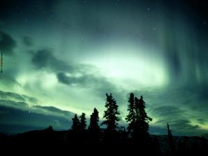 The polar aurora turning the sky of green