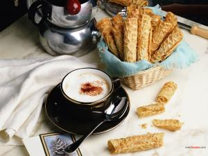 Coffee with biscuit rolls