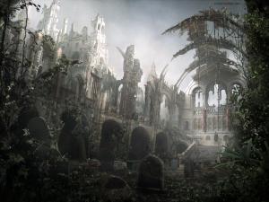 Tombs among medieval ruins