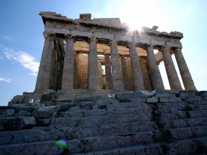 Facade of the Parthenon, in the Acropolis of Athens (Greece)