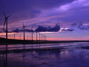 Windmills at dusk