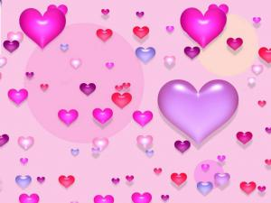 Colored little hearts