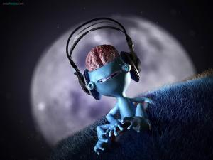 Small alien listening to music