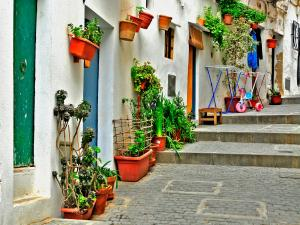 An old street in Ibiza, Balearic Islands (Spain)