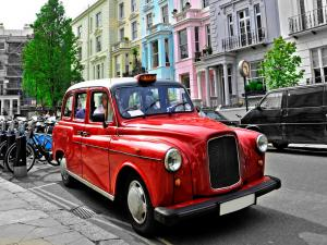 A red taxi in London