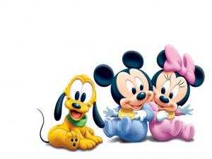 Pluto, Mickey and Minnie very young