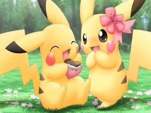 Pikachu eating a chocolate heart