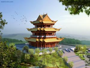 Oriental pagoda in middle of the nature